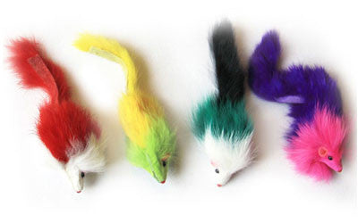 Colorful Long Hair Fur Mice - 6 Pack (24 total mice)