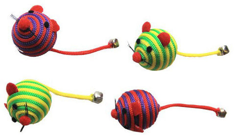 Nylon Rope Fun Ball - Red/Green - 6 Pack (24 total mice)