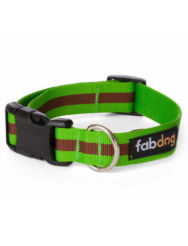 Fabdog Stripe Collar - Green