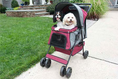 Supreme Pet Stroller - Maroon with Grey