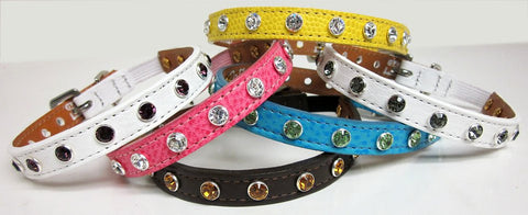 Cat Collar with Single Row of Swarovski Stones.
