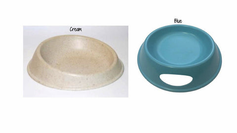 tan and blue Bamboo Water Bowl for Cats