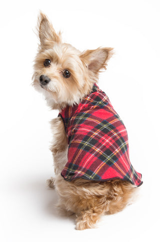 Fleece Lightweight Stretchy Jacket - Red Tartan Plaid
