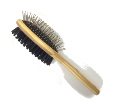 Oval Bristle/Pin Double Sided Bamboo Pet Grooming Brush - Medium