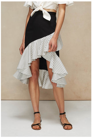 The Salma Skirt in Black Stripe