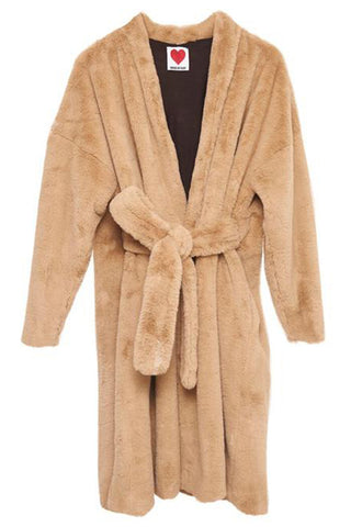 Bathrobe Wrap Coat in Camel
