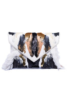 Atropos Handpainted Clutch With Crystals In Denim, White, Black & Gold thumbnail
