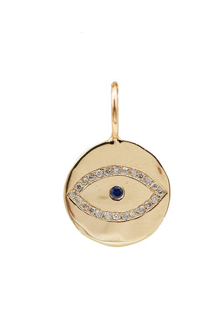 Gold, Diamond and Sapphire Evil Eye Charm