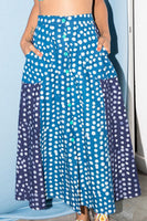 A-Line Midi Skirt in Sky Blue & Navy Blue Dots thumbnail