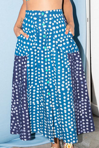 A-Line Midi Skirt in Sky Blue & Navy Blue Dots