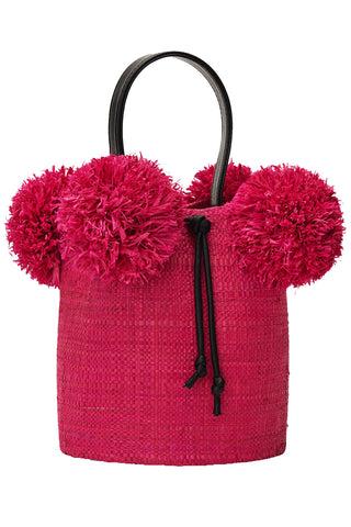 Raffia Mini Pom Pom Bag in Pink
