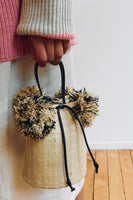 Raffia Mini Pom Pom Bag in Natural thumbnail