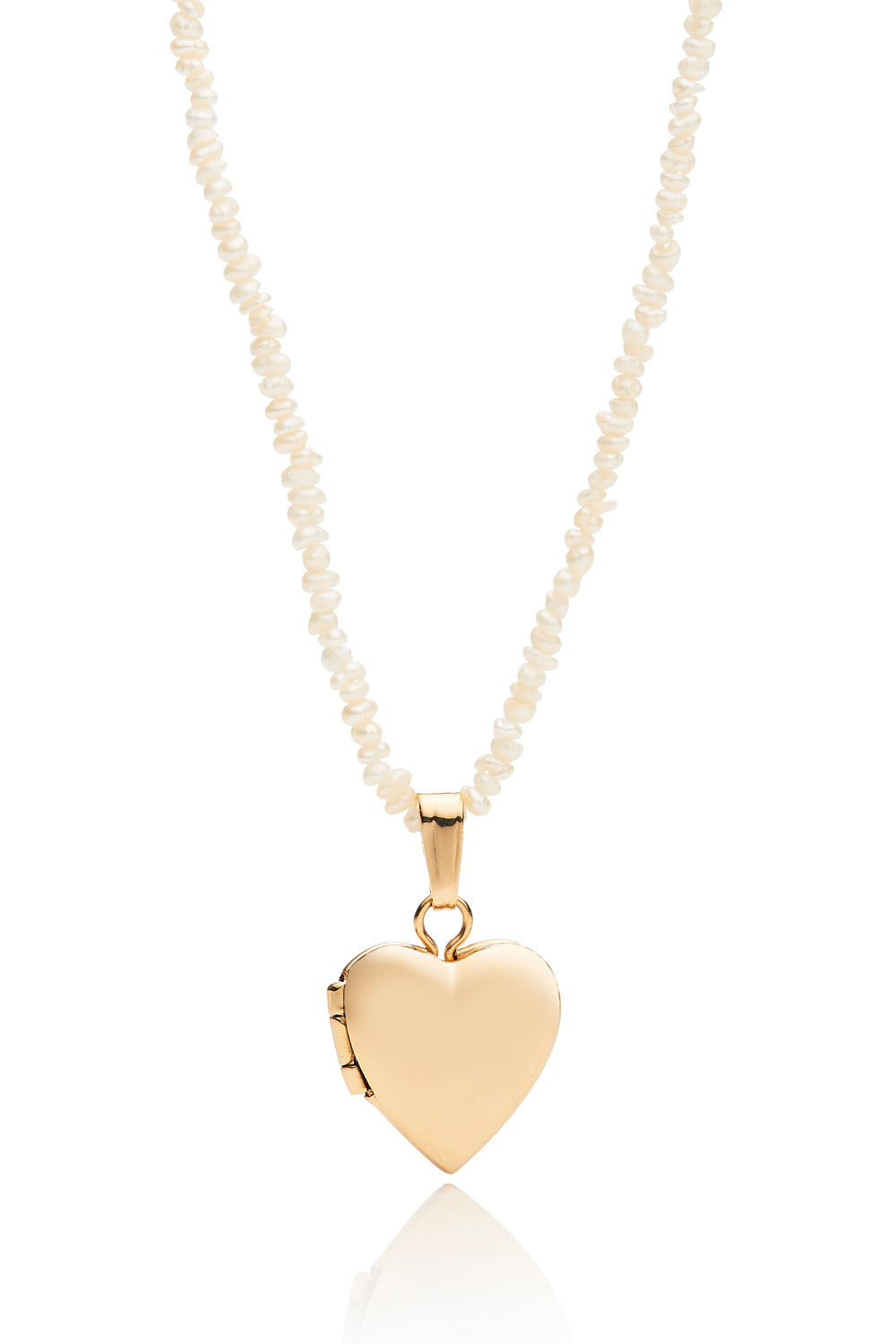 Mini 14k Heart Locket Necklace with Freshwater Pearls