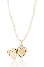 Mini 14k Heart Locket Necklace with Freshwater Pearls thumbnail
