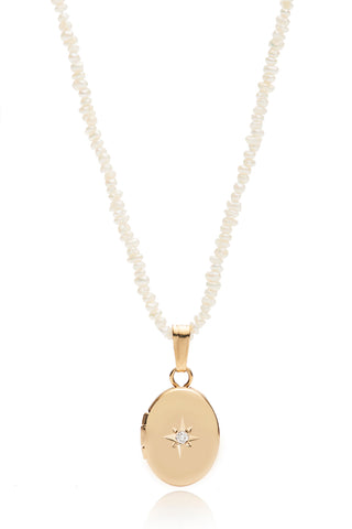 Mini 14k Oval Diamond Locket Necklace w/ Freshwater Pearls