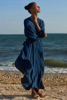 Jacinta Wrap Dress in Teal Blue thumbnail