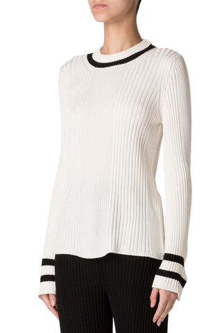 Ribbed Knit Pullover in White & Stripe
