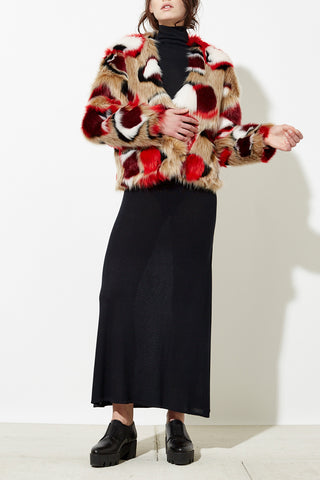 Faiza Cropped Faux Fur Coat in Multi Red