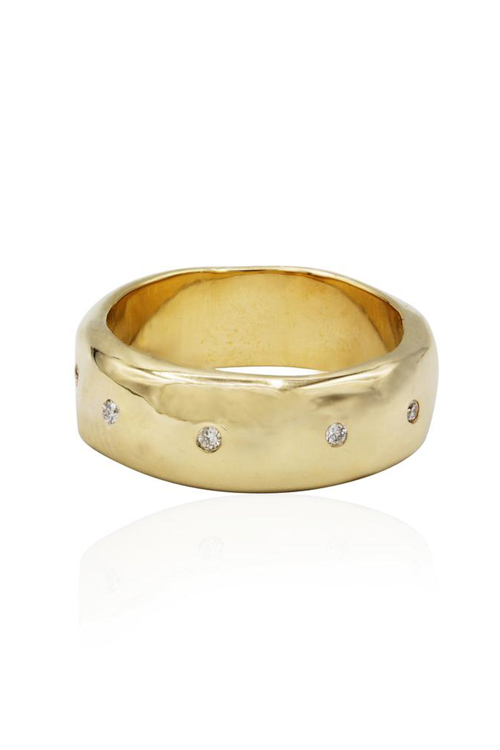Thick Gold with Diamonds Band Ring