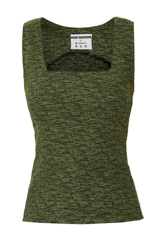 Square Neck Top in Green
