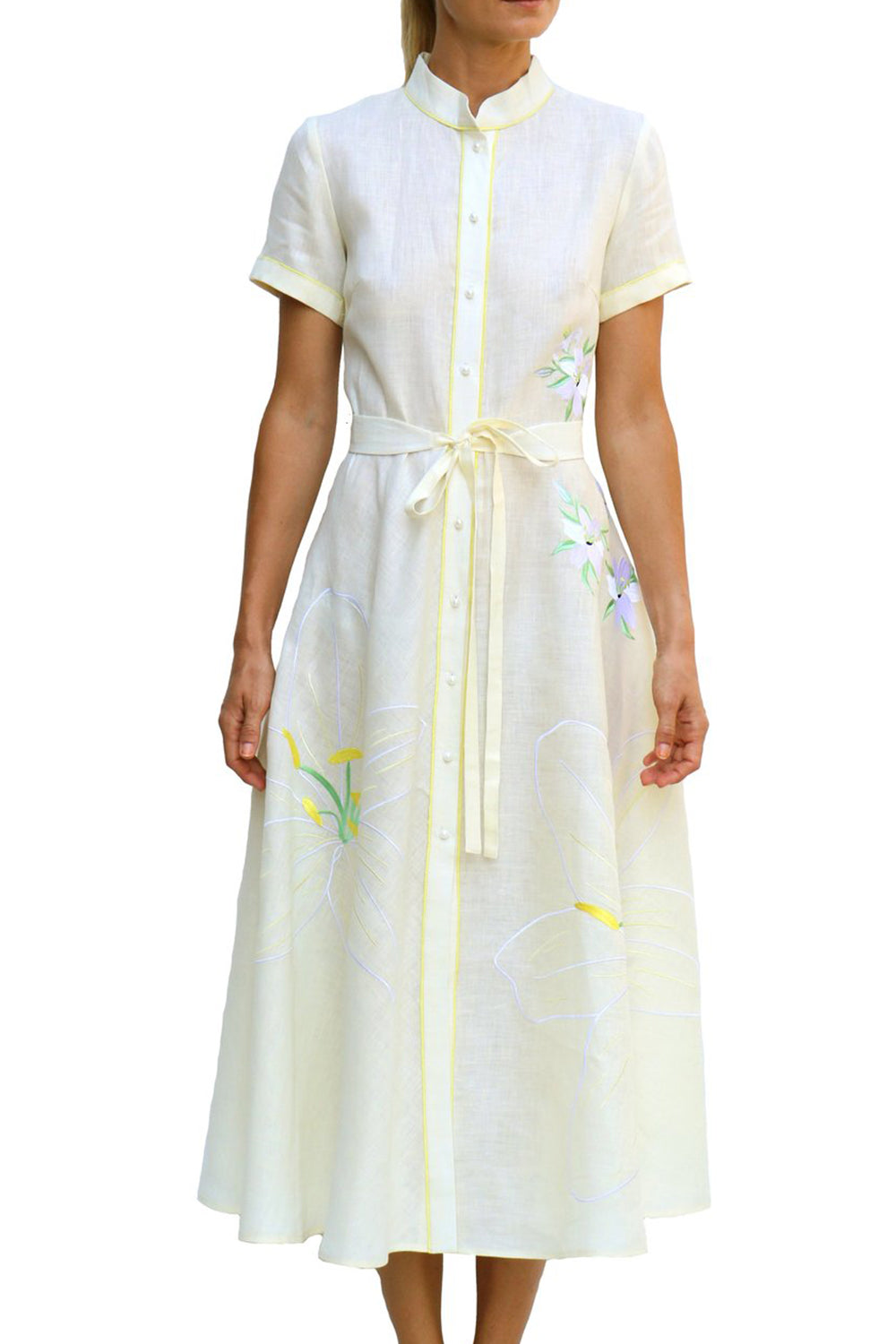 Jacmel Midi Cream Lilly Embroidered Linen Dress