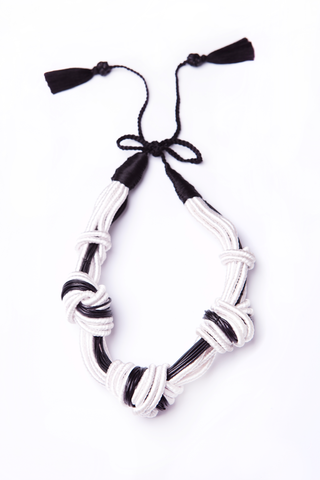 5 Knot Necklace in Black & White Leather