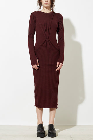 Han Knit Dress in Burgundy Red