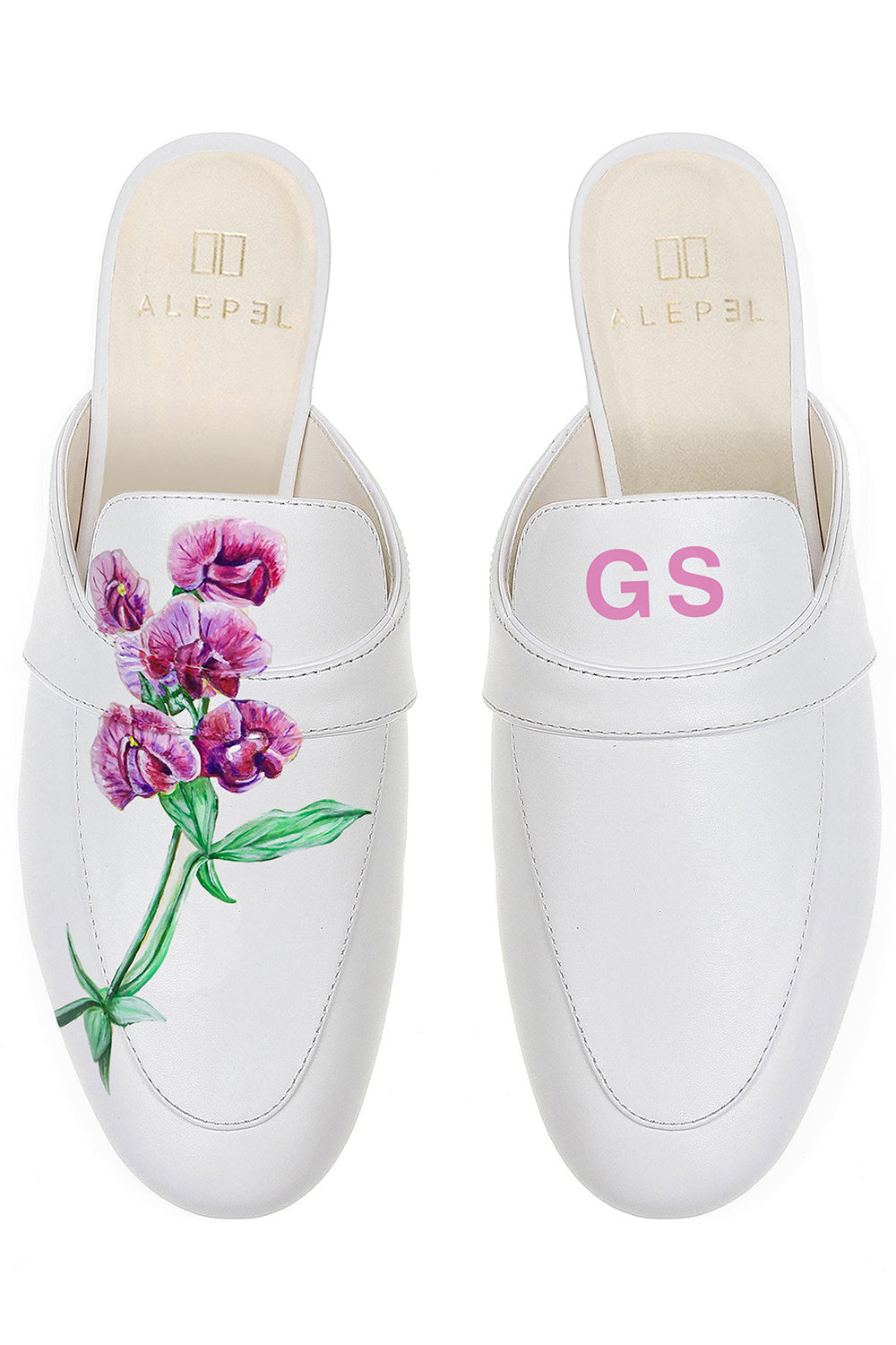 White Pink Orchid Monogram Mule