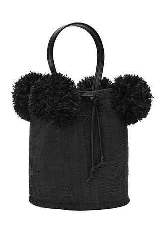 Raffia Mini Pom Pom Bag in Black