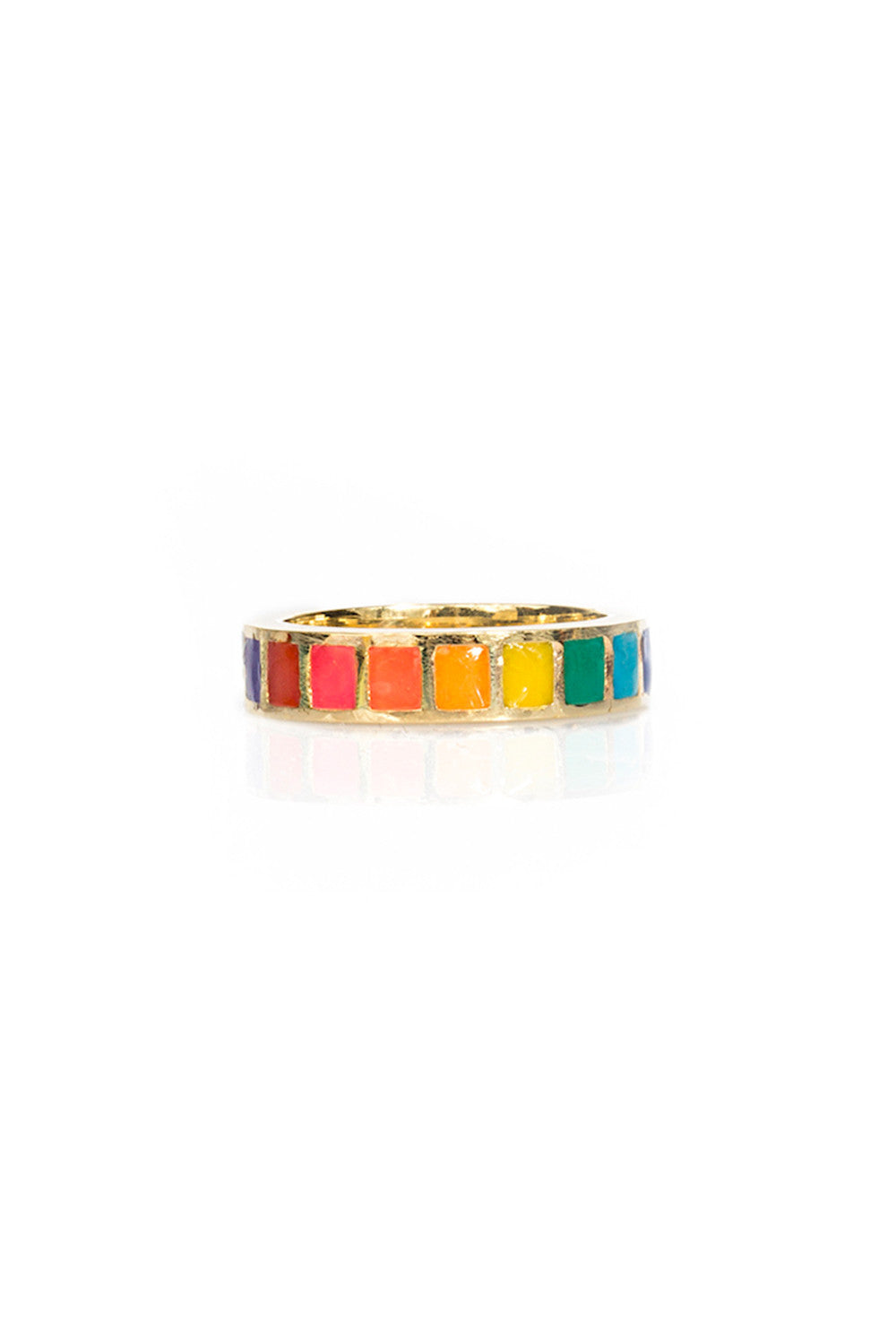 18K Mama Cavity Ring in Opaque Rainbow
