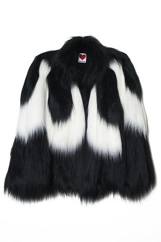 Yeti Convertible Cape Coat in Black & White