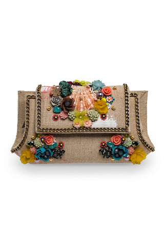SULIPAN SHELL Clutch with Floral Embroidery