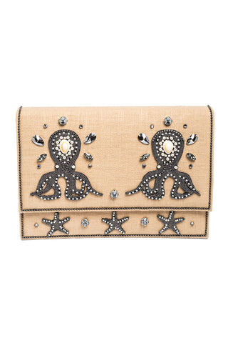 MEA PULPO Clutch in Peach & Silver