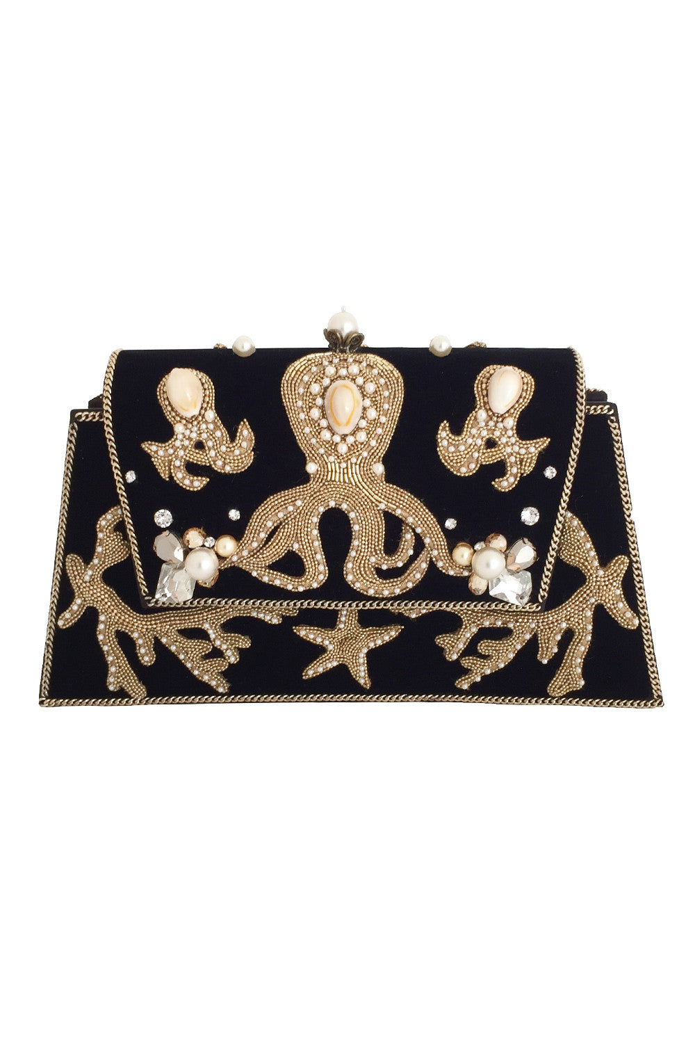 MEA PULPO Clutch 1 in Black & Gold