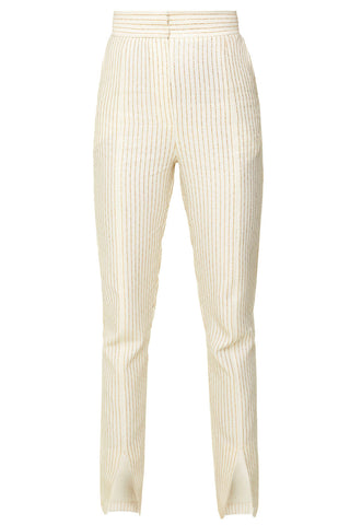 The Split Ends Striped Trousers in Beige & Gold