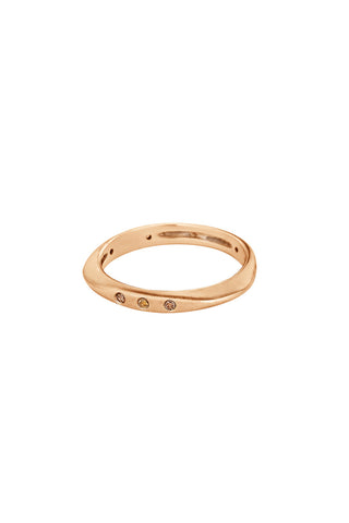 HALO Stackable Ring in Champagne Gold with Champagne Diamonds
