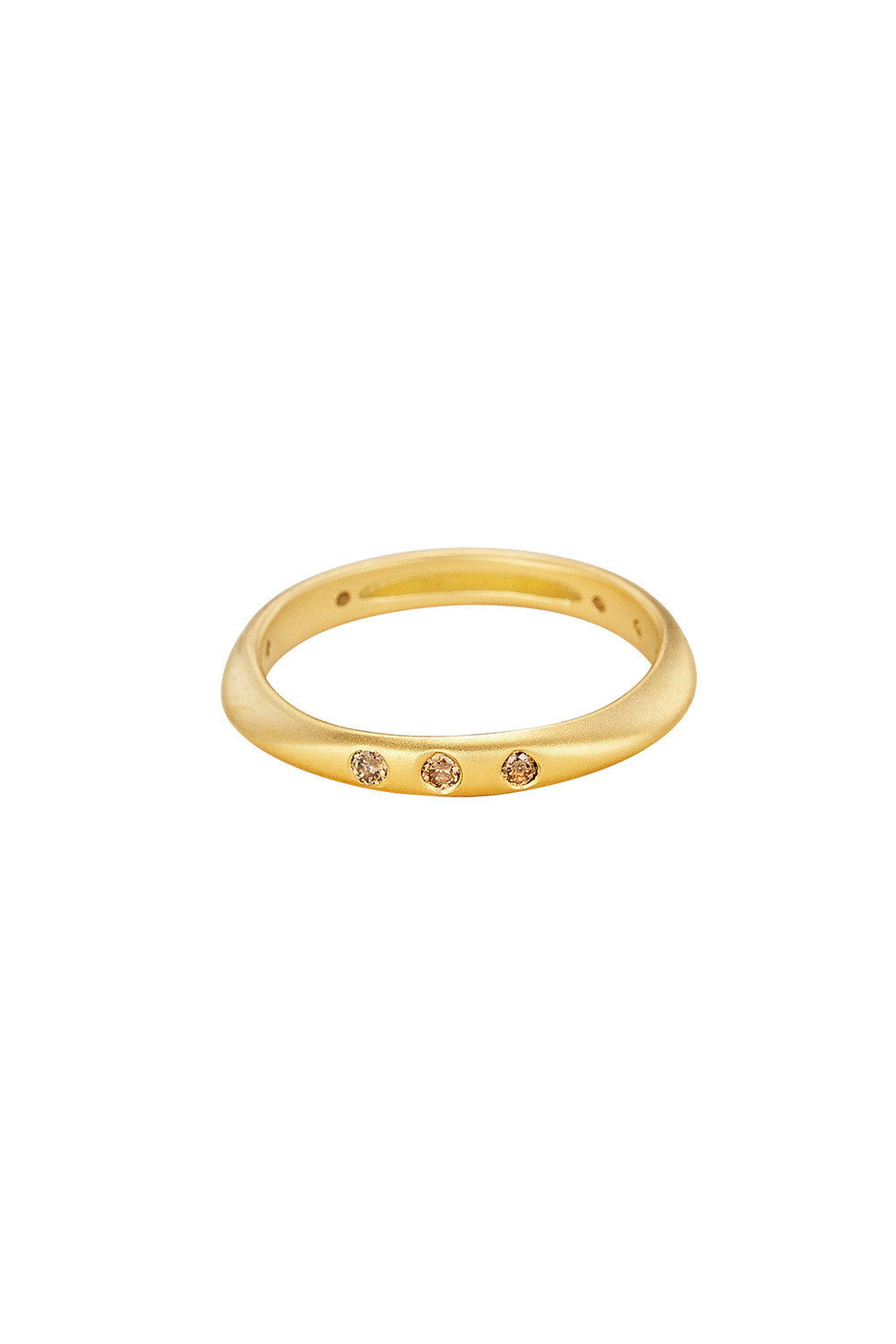 HALO Stackable Ring in Yellow Gold with Champagne Diamonds