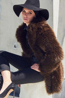 Fitted Fox Coat in Brown thumbnail