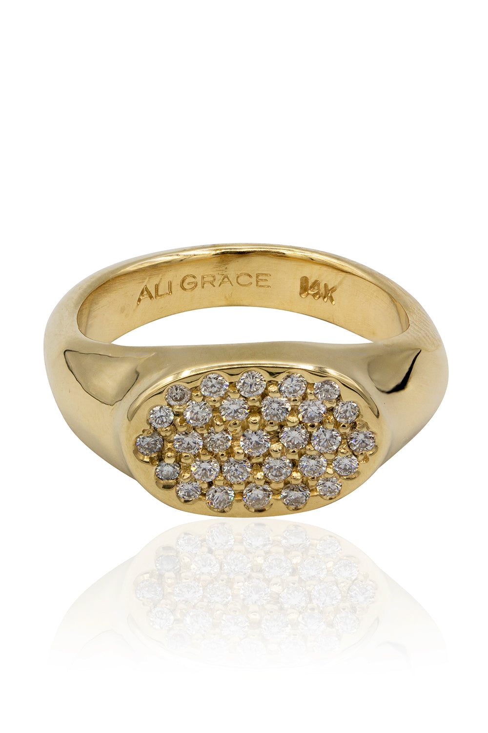 Petite Gold Signet Ring with Pave Diamonds