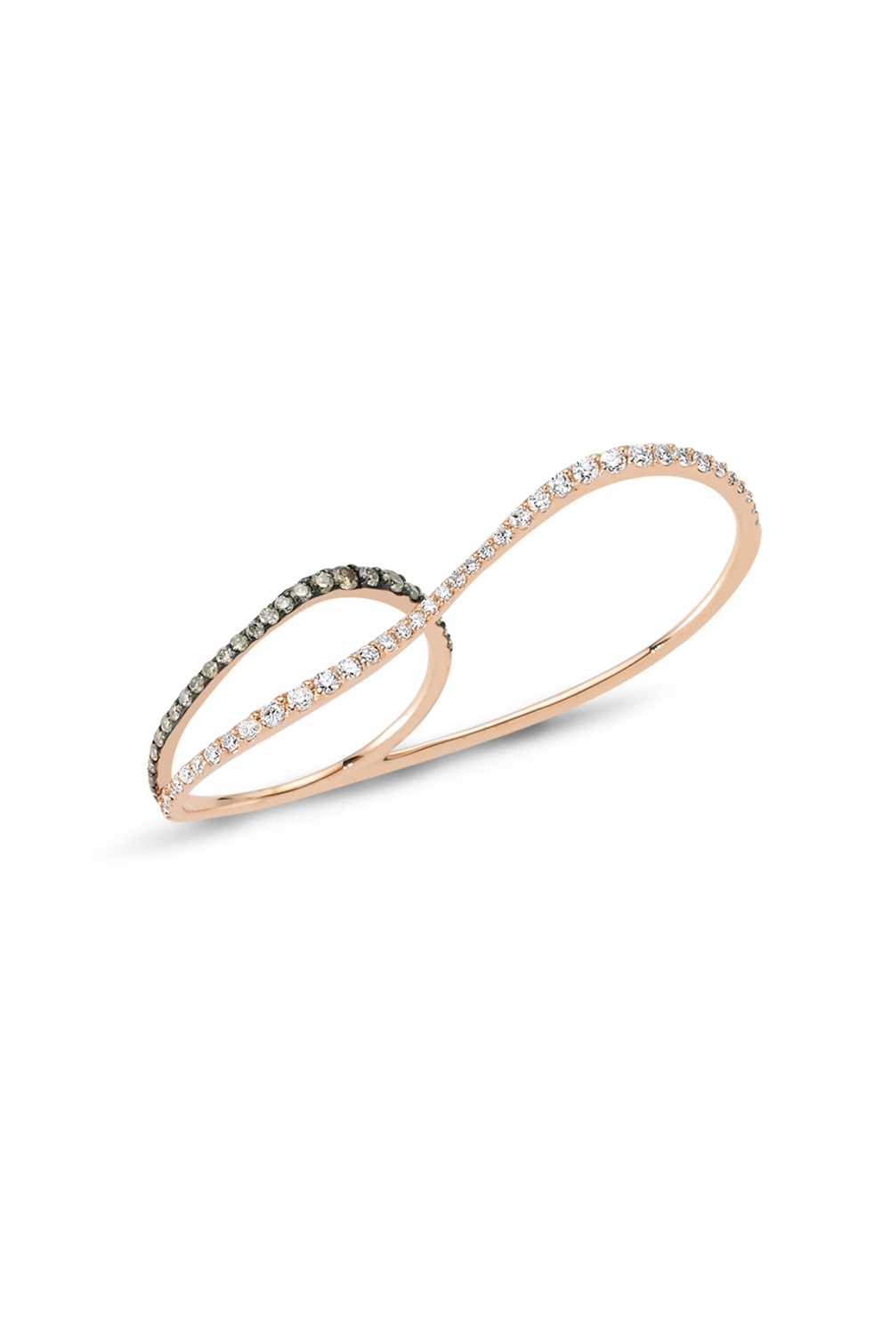 Thin Pink Gold Double Ring with White & Grey Diamonds