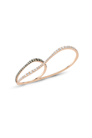 Thin Pink Gold Double Ring with White & Grey Diamonds thumbnail