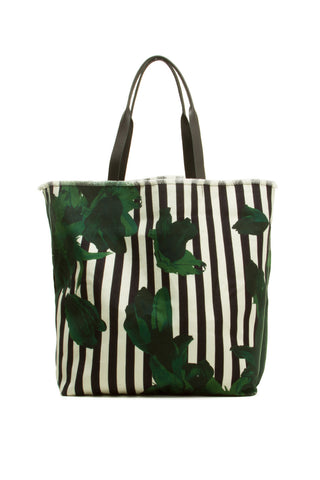 Green Flower Striped Tote Bag