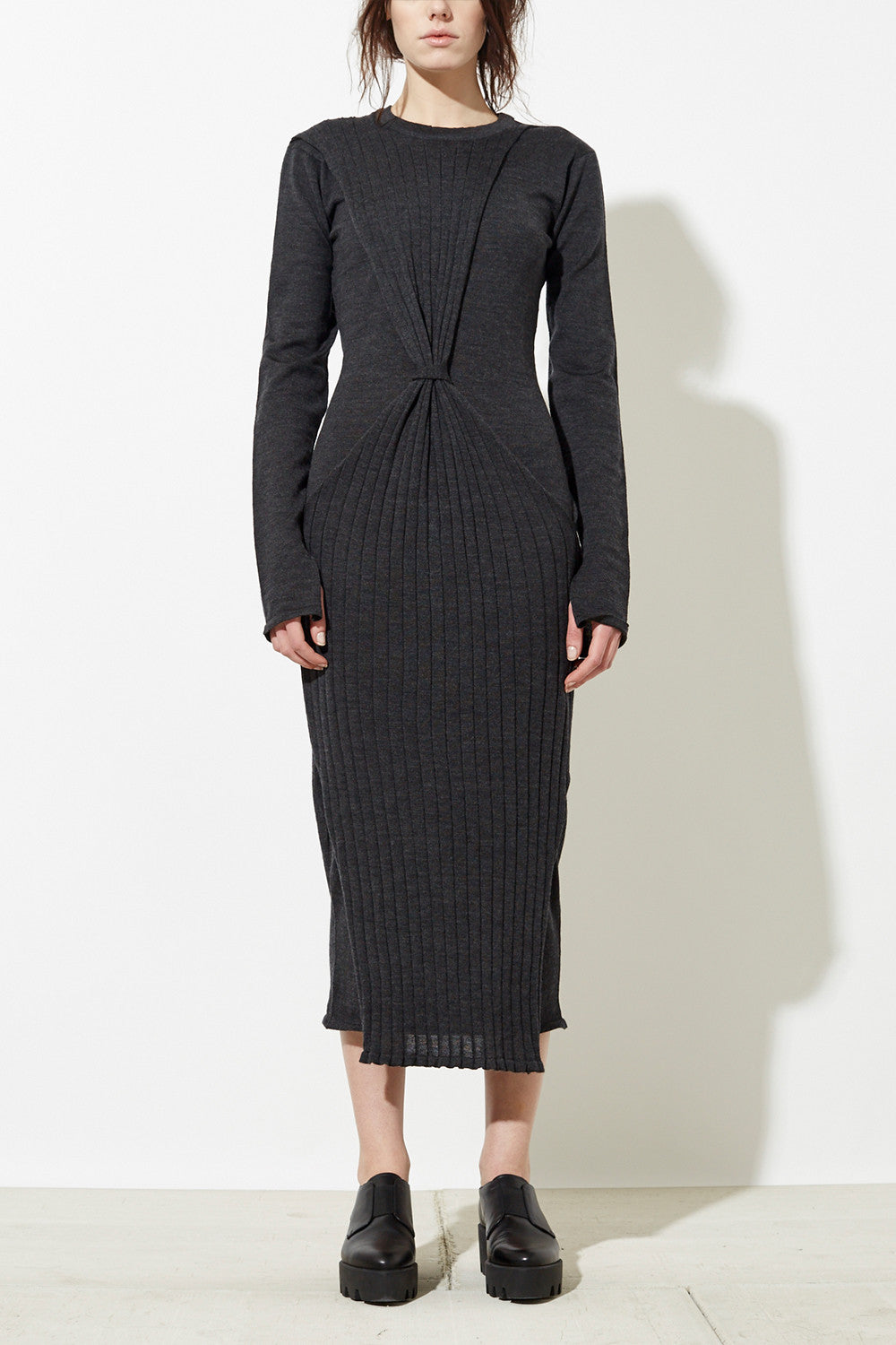 Han Knit Dress in Charcoal Grey