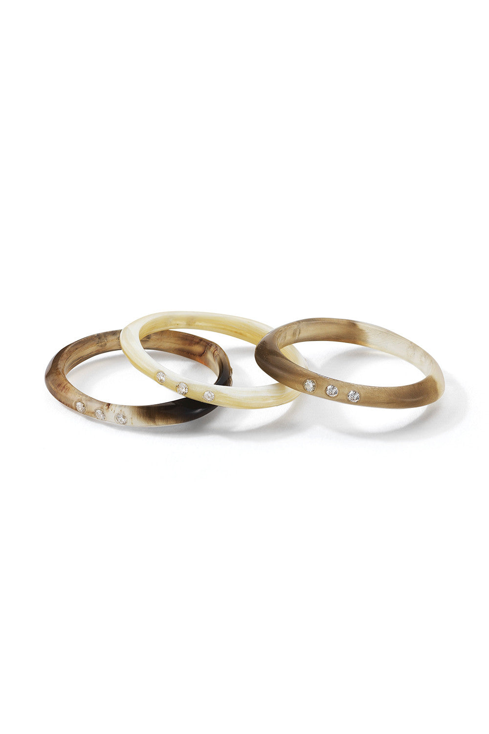 HALO Water Buffalo Horn Stackable Rings in Set of 3
