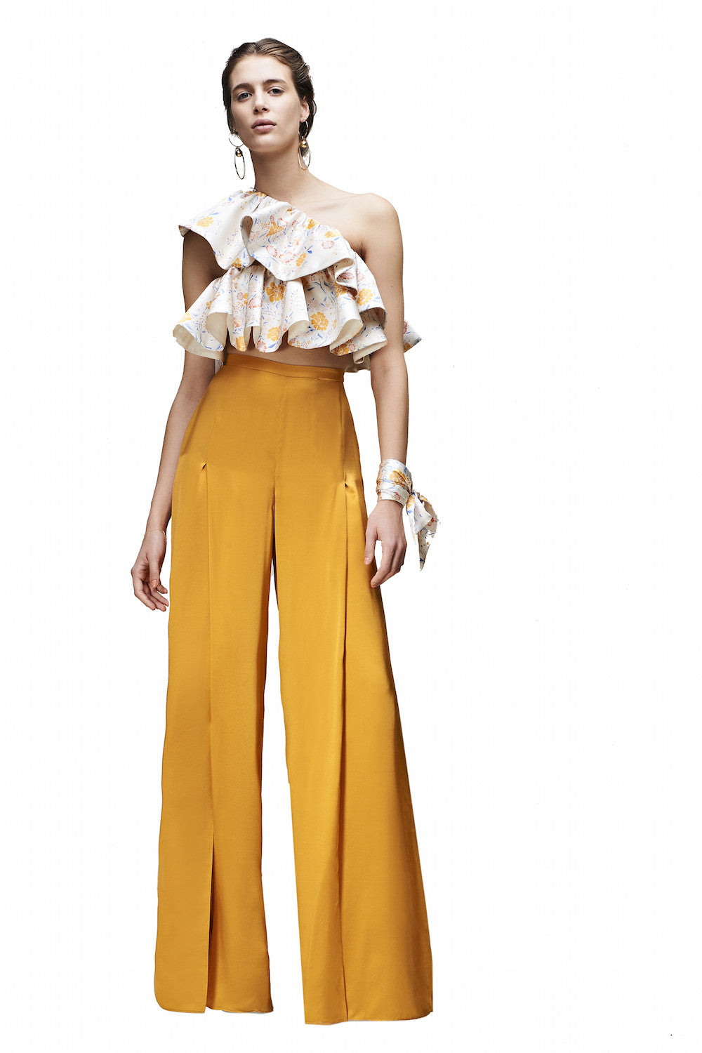 The Ines High-Waisted Pants in Marigold Yellow