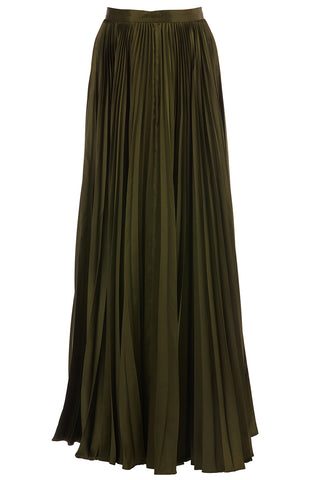 Annine Pleated Maxi Skirt in Olive