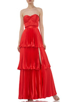 Eve Pleated Satin Maxi Skirt in Red thumbnail