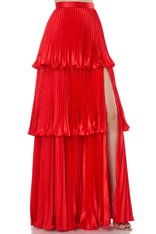 Eve Pleated Satin Maxi Skirt in Red