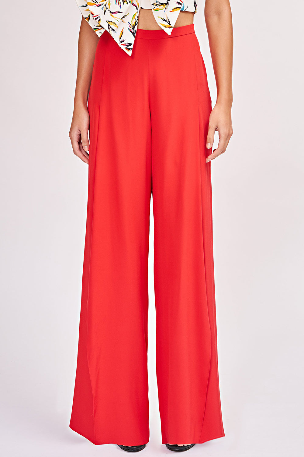High-Waisted Ines Pant in Fiery Red