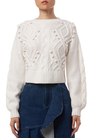 Brie Cable Knit Cropped Sweater in Ivory